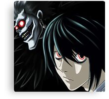 Ryuk and L from the Anime/Manga TV show Death Note: Original Digital Painting Canvas Print