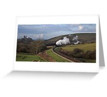Sun, Steam and Corfe Castle Greeting Card