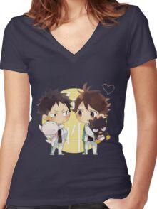 Chibi 2 Haikyuu!! Anime Women's Fitted V-Neck T-Shirt