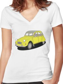 2cv yellow Women's Fitted V-Neck T-Shirt