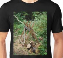 Old Wooden Sawhorse in Forest Unisex T-Shirt