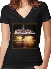 Budda Altar Women's Fitted V-Neck T-Shirt