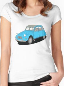 2cv blue Women's Fitted Scoop T-Shirt