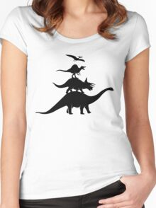 Dino Town Musicians Women's Fitted Scoop T-Shirt