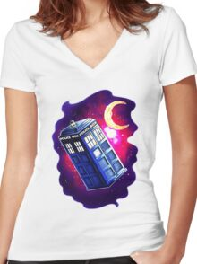 My Doctor Who Of The Moon Women's Fitted V-Neck T-Shirt