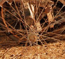 Wheel on Old Wooden Cart Sticker