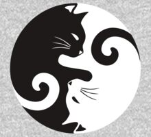 Ying Yang Cats - Black and white One Piece - Long Sleeve