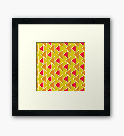 Red brown triangles pattern Framed Print