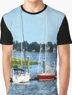 Two Docked Sailboats Norwalk, CT Graphic T-Shirt