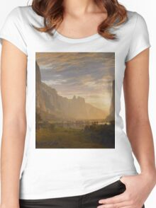 Albert Bierstadt - Looking Down Yosemite Valley, California American Landscape Women's Fitted Scoop T-Shirt