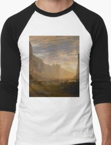 Albert Bierstadt - Looking Down Yosemite Valley, California American Landscape Men's Baseball ¾ T-Shirt
