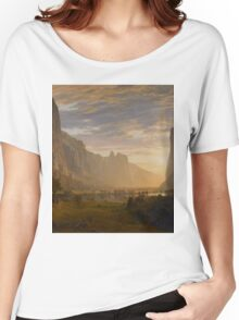 Albert Bierstadt - Looking Down Yosemite Valley, California American Landscape Women's Relaxed Fit T-Shirt