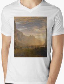 Albert Bierstadt - Looking Down Yosemite Valley, California American Landscape Mens V-Neck T-Shirt