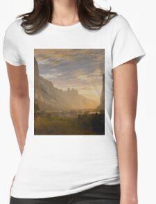 Albert Bierstadt - Looking Down Yosemite Valley, California American Landscape Womens Fitted T-Shirt