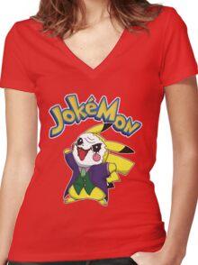 Pokemon Pikachu Jokemon Women's Fitted V-Neck T-Shirt