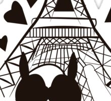 French Bulldog kissing in Paris Sticker