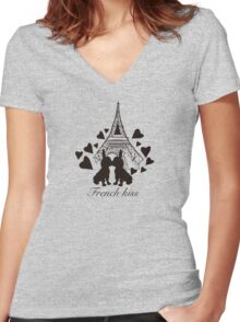French Bulldog kissing in Paris Women's Fitted V-Neck T-Shirt