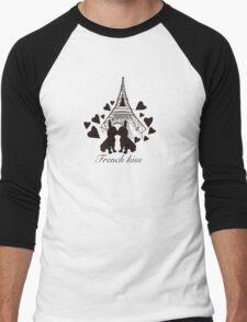French Bulldog kissing in Paris Men's Baseball ¾ T-Shirt