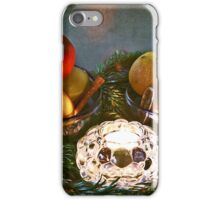 Christmas:a candle, fir branches spices and fruits iPhone Case/Skin