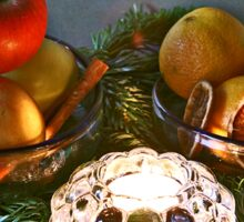 Christmas:a candle, fir branches spices and fruits Sticker
