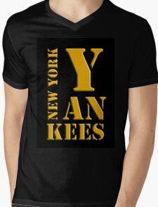 New York Yankees typography Mens V-Neck T-Shirt