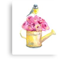 a bouquet of roses and bird  Canvas Print