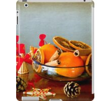 Grunge Christmas: fruits bowl and straw ornaments iPad Case/Skin