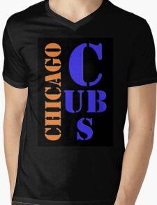 Chicago Cubs Typography Mens V-Neck T-Shirt