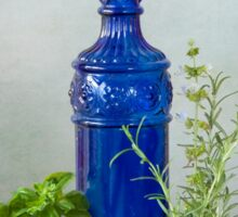 Blue glass bottle with vegetables and flowers Sticker