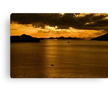 ...sunset over Greek waters .. Canvas Print