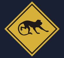 Warning Long-tailed Macaques, Road Sign, Malaysia Kids Tee