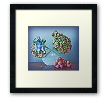 Autumnal still life: grapes and dry hydrangea flowers Framed Print