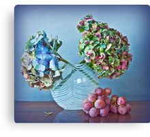 Autumnal still life: grapes and dry hydrangea flowers Canvas Print