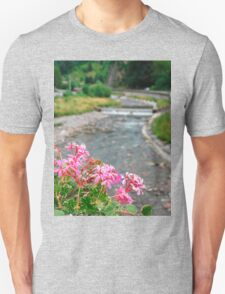 Pink Geraniums With Background River Unisex T-Shirt