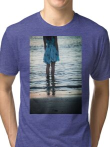 young woman in the beach at sunset Tri-blend T-Shirt