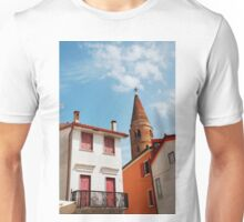 Caorle Belltower with Foreground Buildings Unisex T-Shirt