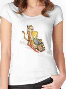 Calvin and Hobbes Jet Ski Women's Fitted Scoop T-Shirt