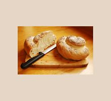 White Swirl Bread Loaf with Knife Unisex T-Shirt