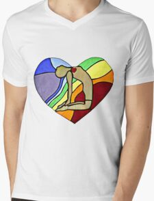 Yoga Camel Pose Mens V-Neck T-Shirt