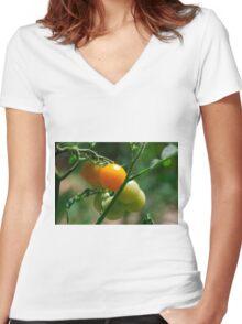 Orange Tomatoes Ripening on the Vine Women's Fitted V-Neck T-Shirt