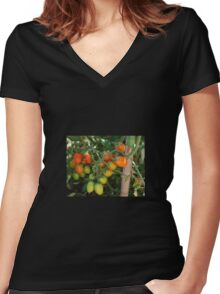 Date Tomatoes Ripening on Vine Women's Fitted V-Neck T-Shirt