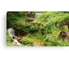 Mill Water Wheel and Stream Canvas Print