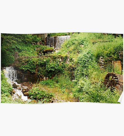 Mill Water Wheel and Stream Poster