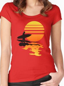 Surfing Sunrise Women's Fitted Scoop T-Shirt