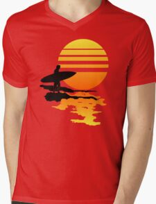 Surfing Sunrise Mens V-Neck T-Shirt