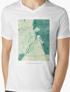 Copenhagen Map Blue Vintage Mens V-Neck T-Shirt
