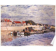 Alfred Sisley - Barges on the Loing at Saint-Mammes 1885 Poster