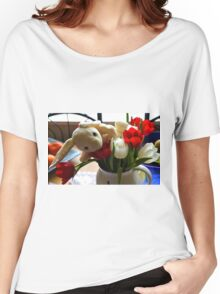 Bunny in my Tulips....Dorset UK Women's Relaxed Fit T-Shirt