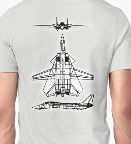 JET, FIGHTER, Aircraft, America, American, Grumman, F-14, Tomcat, DRAWING, supersonic, twin-engine, two-seat, variable-sweep wing,  Unisex T-Shirt