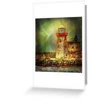 Lighthouse with stormy weather Greeting Card